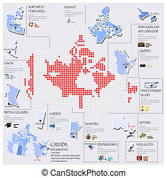 Dot And Flag Map Of Canada Infographic Design