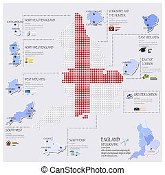Dot And Flag Map Of England Infographic Design