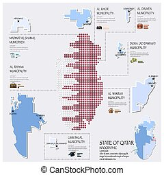 Dot And Flag Map Of State of Qatar Infographic Design ...