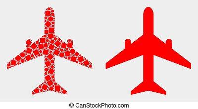 Dot and Flat Vector Airplane Icon