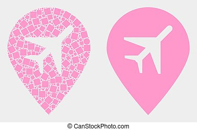 Dot and Flat Vector Airport Map Marker Icon