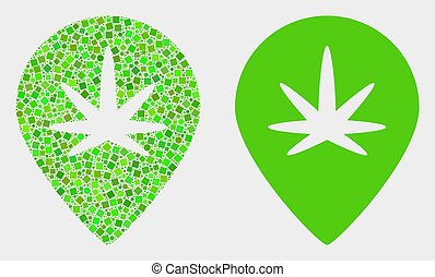 Dot and Flat Vector Cannabis Map Marker Icon