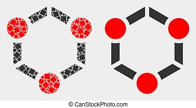 Dot and Flat Vector Cooperation Icon