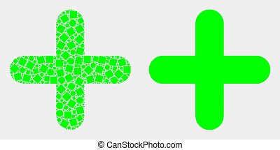 Dot and Flat Vector Cross Icon