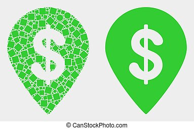 Dot and Flat Vector Dollar Map Marker Icon