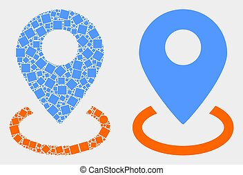 Dot and Flat Vector Map Marker Placement Icon