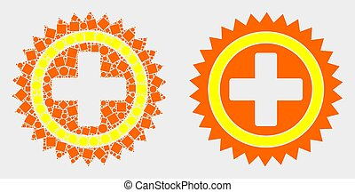 Dot and Flat Vector Medical Cross Icon