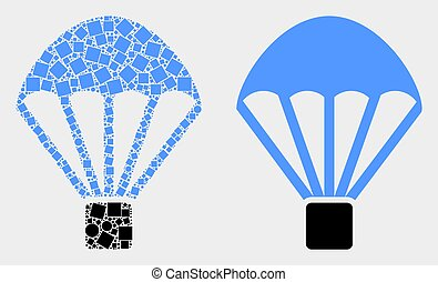Dot and Flat Vector Parachute Icon