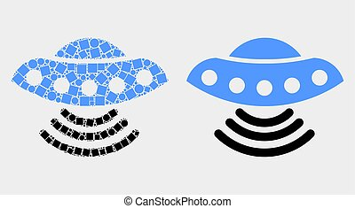 Dot and Flat Vector UFO Icon