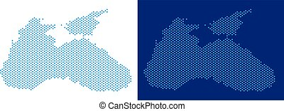 Dot Black Sea Map - Pixel Black Sea map. Vector geographic...