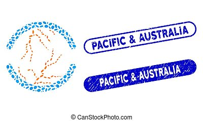 Dot Collage Clean Energy with Distress Pacific & Australia Stamps