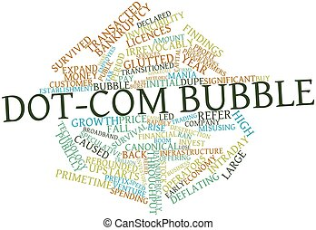 Dot-com bubble - Abstract word cloud for Dot-com bubble with...