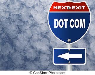 Dot com road sign
