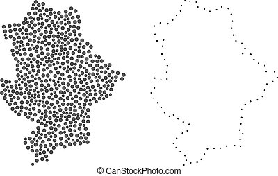 Dotted and Frame map of Donetsk Republic designed with dots. Vector gray abstraction of map of Donetsk Republic. Connect the dots educational geographic drawing for map of Donetsk Republic.