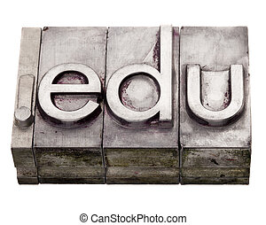 dot edu - internet domain in letterpress type - dot com...