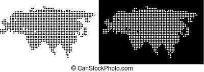 Dot Eurasia Map - Vector rhombus pixel Eurasia map. Abstract...