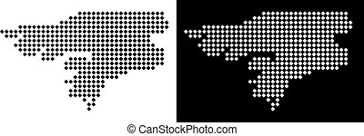 Dot Guinea-Bissau Map - Vector rhombic dotted Guinea-Bissau...