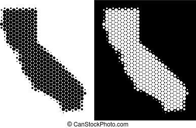 Dot Halftone California Map