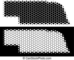 Dotted halftone Nebraska State map. Vector geographic map on white and black backgrounds. Abstract collage of Nebraska State map designed from sphere elements.