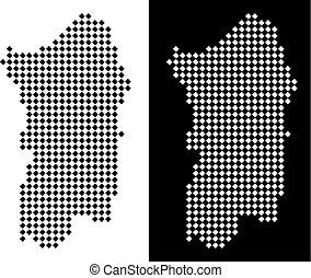Dot Italian Sardinia Island Map - Vector rhombic pixel...