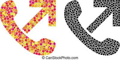 Dot Outgoing Call Mosaic Icons - Dot outgoing call mosaic...