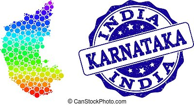 Dot Rainbow Map of Karnataka State and Grunge Stamp Seal