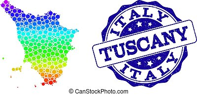 Dot Rainbow Map of Tuscany Region and Grunge Stamp Seal -...