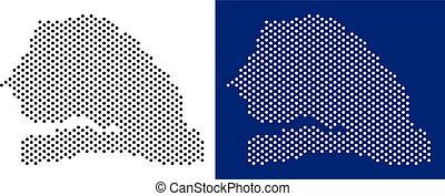 Dot Senegal Map - Pixel Senegal map. Vector geographic map...