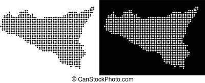 Dot Sicilia Map - Vector rhombic pixel Sicilia map. Abstract...