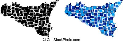 Dot Sicilia Map with Blue Variant - Dot Sicilia map...