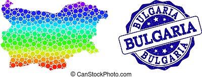 Dot Spectrum Map of Bulgaria and Grunge Stamp Seal