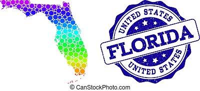 Dot Spectrum Map of Florida State and Grunge Stamp Seal