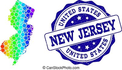 Dot Spectrum Map of New Jersey State and Grunge Stamp Seal