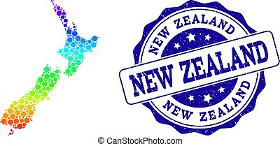 Dot Spectrum Map of New Zealand and Grunge Stamp Seal
