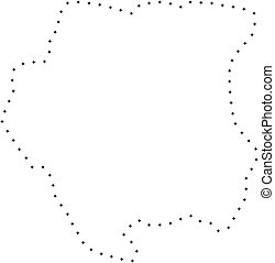 Dot Stroke Suriname Map - Vector stroke dotted Suriname map...