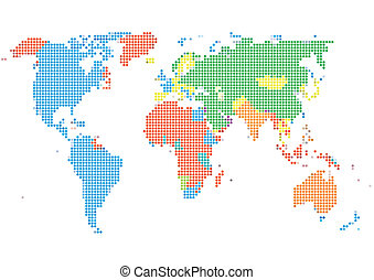 Color dot world map on the light background eps vector search dot style world map with continents sciox Image collections