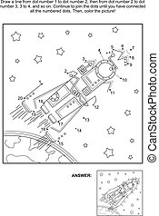 Dot-to-dot and coloring activity page - rocket, or spaceship