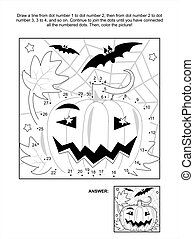Dot-to-dot and coloring page - Halloween pumpkin