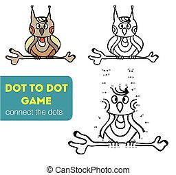 Dot to dot children game. Coloring and dot to dot educational game for kids. Cartoon character