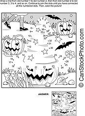 dot-to-dot, en, kleuren, pagina, -, halloween heks, hoedje