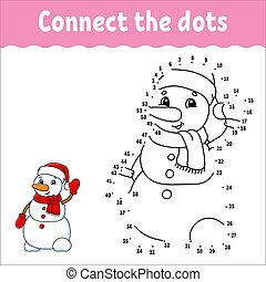 Dot to dot game. Draw a line. Christmas snowman. For kids. Activity worksheet. Coloring book. With answer. Cartoon character.