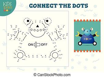Dot to dot kids game vector illustration. Preschool children drawing activity