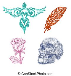 Dot work vector dotted rose or skull with tone and graphic firebird or feather in point illustration set of dotwork art isolated on white background