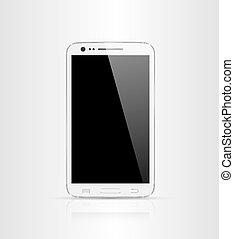 dotknijcie osłaniają, nowoczesny, smartphone, isol