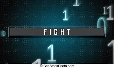 Dots and numbers with fight text against blue background - ...