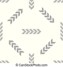 Dots arrow icon seamless pattern on white background. Flat design. Vector Illustration