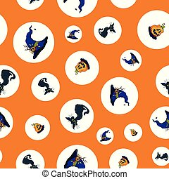 Dots halloween cats and pumpkins repeat pattern.
