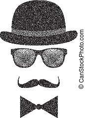 Dots Hipster character illustration with sunglasses and mustache. Vector
