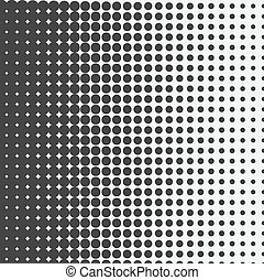 dots., kropkuje, czarnoskóry, halftone, wektor, tło., biały