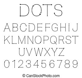 Dots letters and numbers.